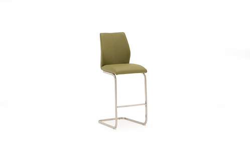 Irma Bar Chair - Brushed Steel Olive