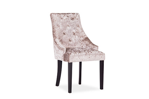 Hobbs Dining Chair - Crushed Velvet Mink, Walnut Leg