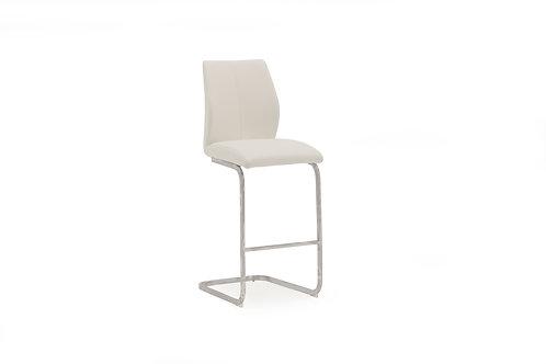 Elis Bar Chair - Chrome Leg White
