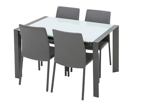 Brindisi White Extending Table & 4 Chairs