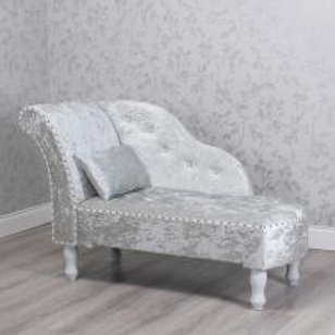 Small Chaise Lounge - Crushed Velvet Grey