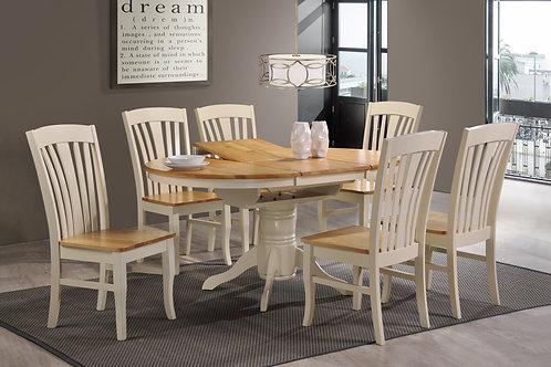 Normandy Ext Table Set - Cream & Oak
