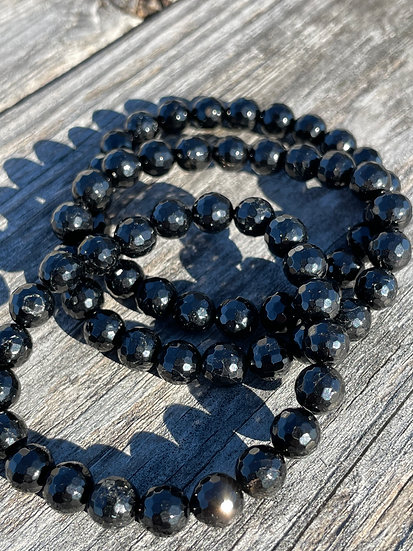 AAA 8mm Faceted Black Tourmaline Bracelets