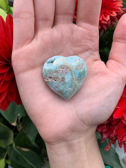 Carribean Blue Calcite Heart #3