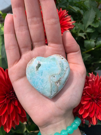 Carribean Blue Calcite Heart #2