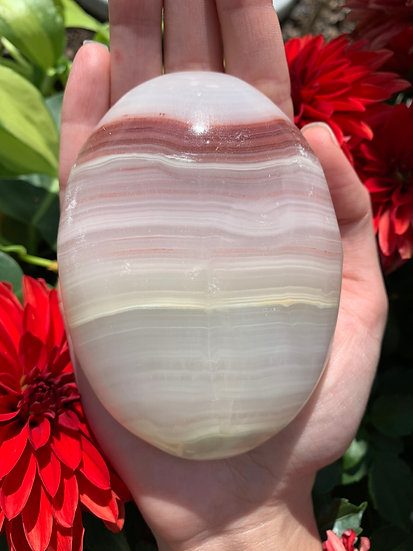 Banded Pink Calcite Palmstone #01