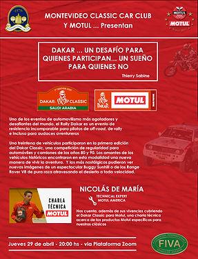 Afiche - Motul - Charla Dakar Classic 20