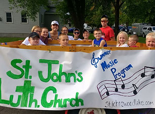 Members of St. John's Lutheran church (WELS)participate inte Wood Lake parade during the annual Wood Lake Minnesota fair.
