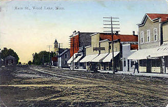 Historical picture of Main Street in Wood Lake circa 1800.