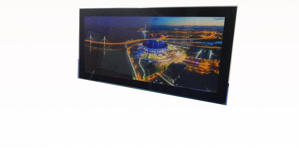 """Панорамное фото стадиона """"Санкт-Петербург"""" в рамке из закаленного стекла."""