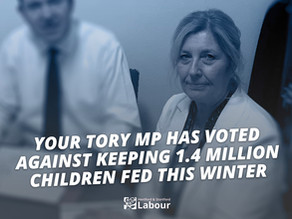Why did Julie Marson MP vote against keeping 1.4 million children fed this winter?