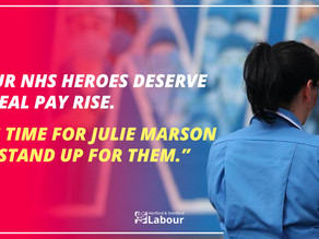 "Labour Call On Julie Marson MP to Speak Out On Insulting 1% ""Pay Rise"" for Heroic NHS Workers"