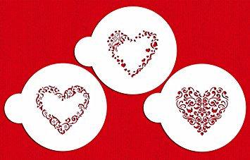 Designer Stencils:  Swirl Valentine heart stencils (set of 3)