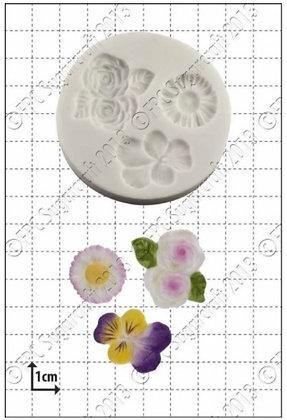 FPC Sugarcraft:  Viola, roses & daisy silicone mould