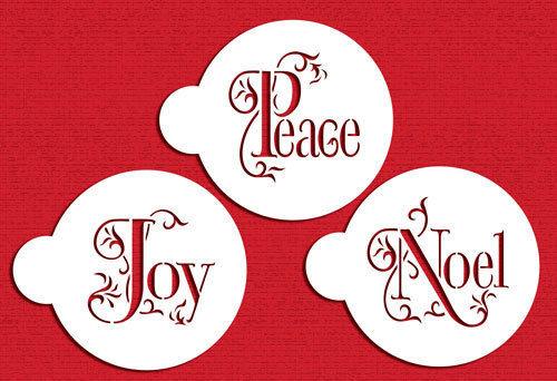 Designer Stencils: Joy, Noel & Peace cookie stencils (set of 3)