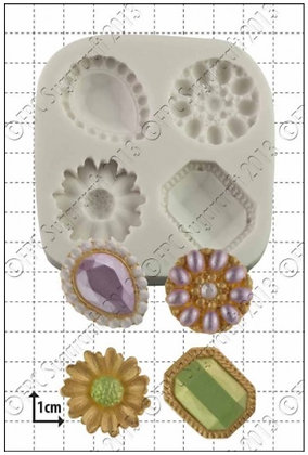 FPC Sugarcraft:  Jeweled brooches silicone mould