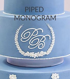Piped mongram Paul Bradford wedding cake