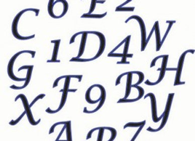 FMM:  Alphabet & number script set (upper case)