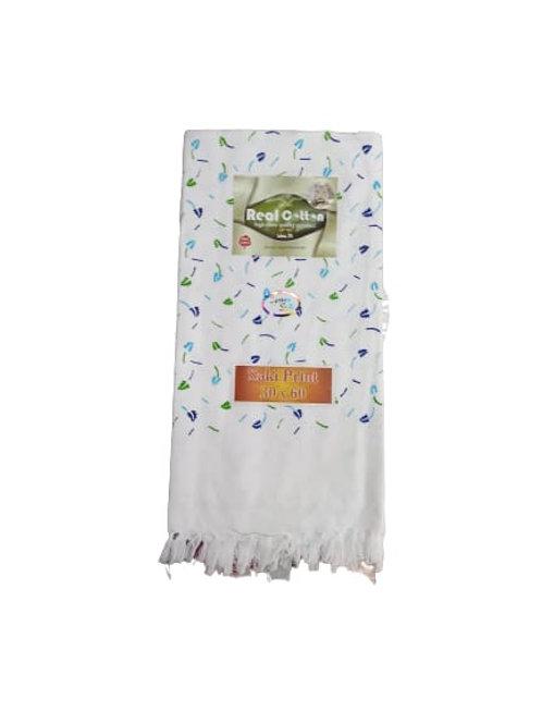 White Printed Towel