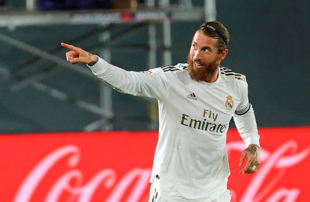 Real Madrid Sergio Ramos celebrates his goal vs Getafe