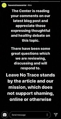 Leave No Trace Center response to shaming and callout criticism