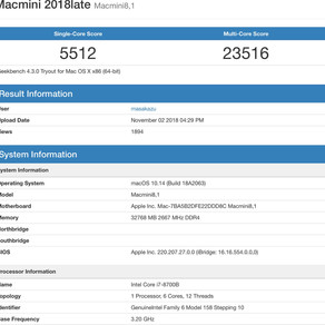 Mac mini 2018 : un premier benchmark impressionnant