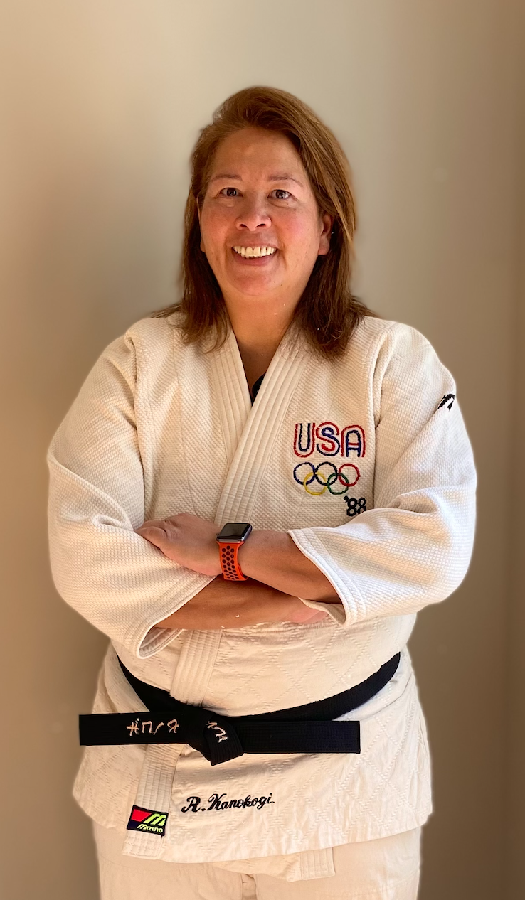 Jean in Rusty's judo gi