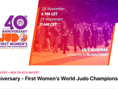 Please join us ~40th Anniversary ~ First Women's World Judo Championships November 28th & 29th