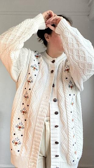 VINTAGE Floral Knitted Cardigan
