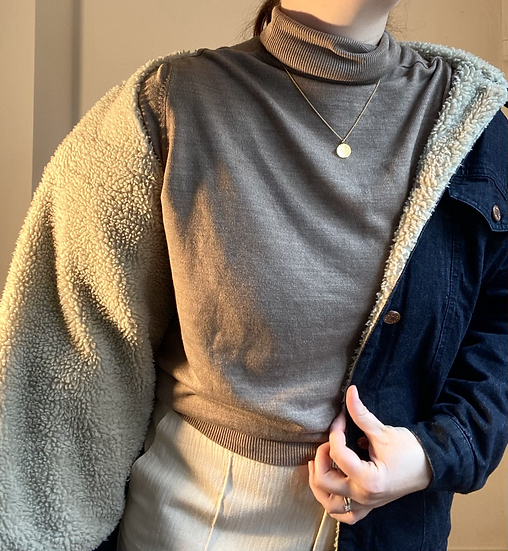 MONKI Shearling Denim Jacket