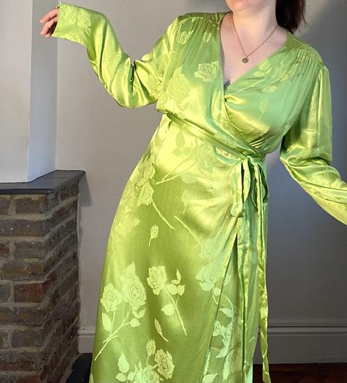 KITRI Lime Silk Wrap Midi Dress