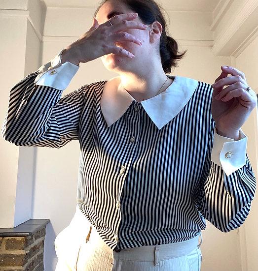 VINTAGE 80s Large Collar Blouse