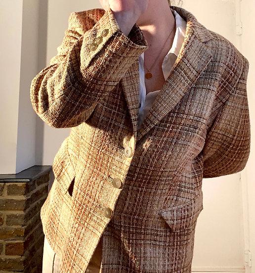 VINTAGE 70s Plaid Tweed Jacket