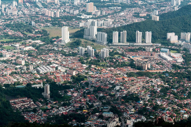 View of Ayer Itam Town from Helicopter