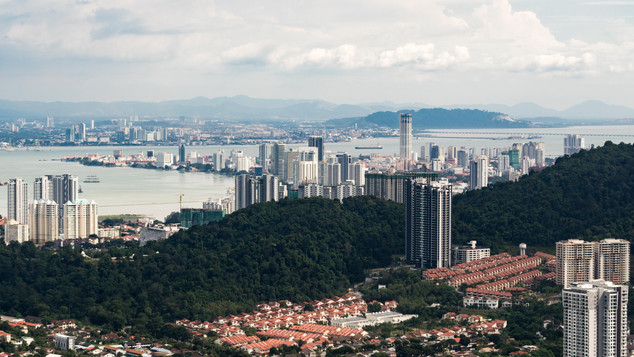 View of George Town from Helicopter