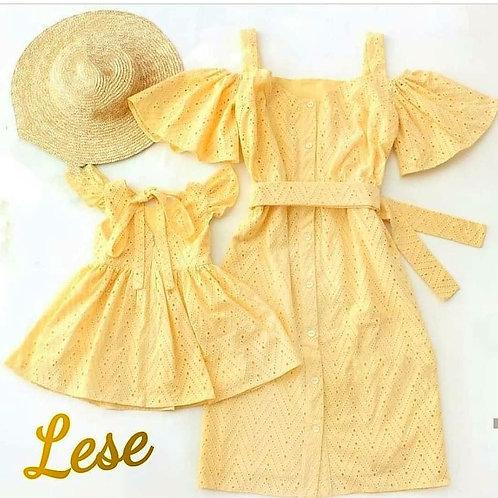 Vestido mãe e filha amarelo