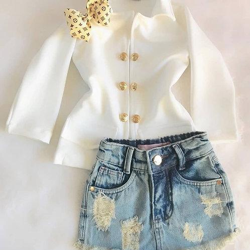 Conjunto Saia Jeans + Blazer