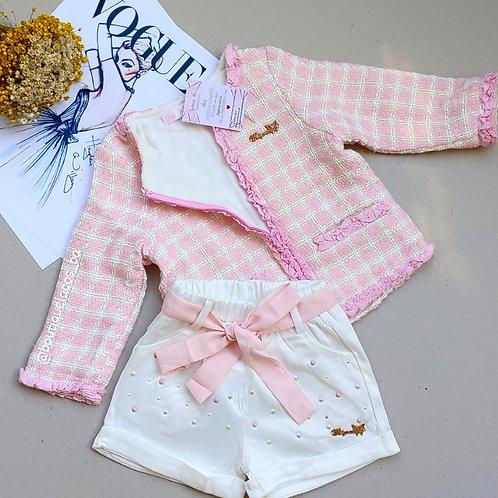Casaco rosa + shorts seda