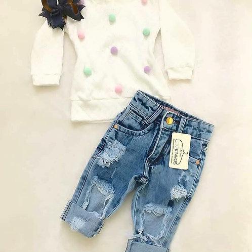 Blusa boa + calça jeans