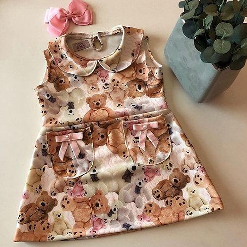Vestido rosa ursinho