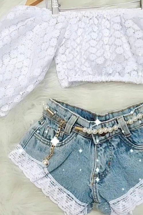 Conjunto ciganinha + shorts jeans