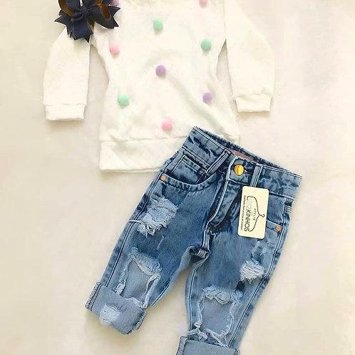 Calça jeans +blusa póa