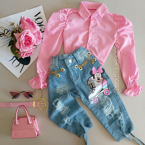 Calça minnie + camisa rosa