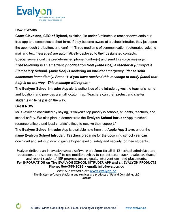 Evalyon School Intruder Press Release 2_