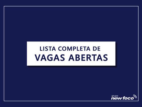 ENCERRADO - VAGAS ABERTAS