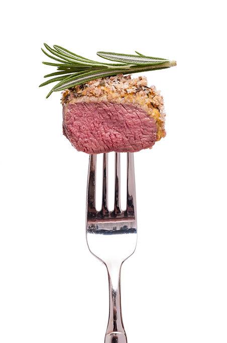 Gabel mit Fleisch