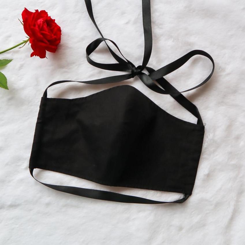 Black Ribbon-Tie Face Mask