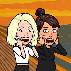 A bitmoji cartoon of Lou and Kyla. The two side by side cartoon figures are imitating the 'Scream' Painting with both of their hands up to their faces and open mouths in shock with a background of orange and yellow sky and grey hills.