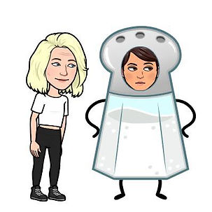 A bitmoji of Lou looking cutely and leaning towards Kyla who has turned into a salt shaker and is looking very unimpressed.
