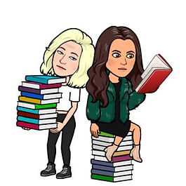 A bitmoji of Lou, holding a pile of books looking tired and annoyed. Beside her, Kyla sits on top of a pile of books wearing black dress, green jacket and tan boots, intently reading a red book.